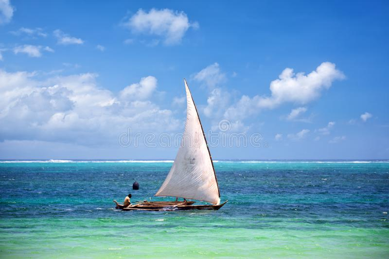 Fishing boat in Zanzibar royalty free stock photos