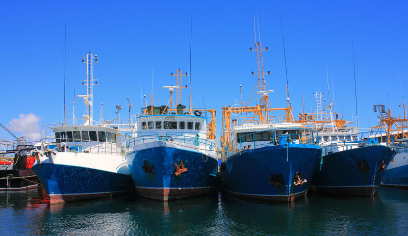 Fishing Boats. Four blue and white fishing boats in Freemantle harbour, Western Australia. The yellow and white masts and fishing gear stand against a blue sky royalty free stock photo