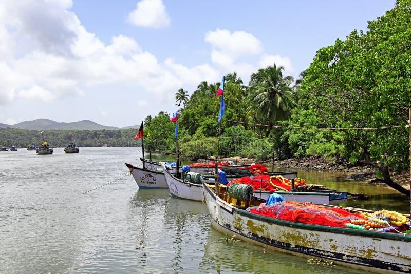 Fishing Boats All Set for Fishing Trip. Betul, Goa, India - September 01, 2017: Fishing boats all set for fishing trip to the deep sea near the Cutbon Fishing royalty free stock photos
