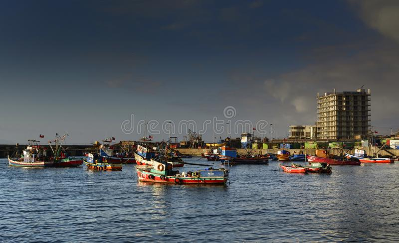 Fishing boats in Antofagasta, Chile royalty free stock image