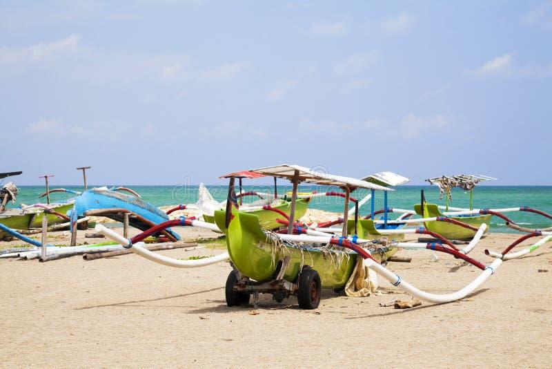Fishing Boats on Beach, Kuta, Bali, Indonesia royalty free stock photography
