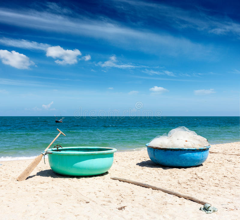 Fishing boats on beach. Vietnam royalty free stock images