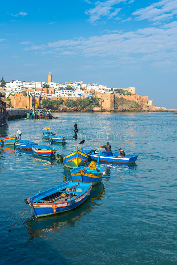 Fishing boats on the Bou Regreg river in Rabat port. Rabat, Morocco - December 11, 2015: Fishing boats in Rabat fishing port, located in the river Bou Regreg at royalty free stock images