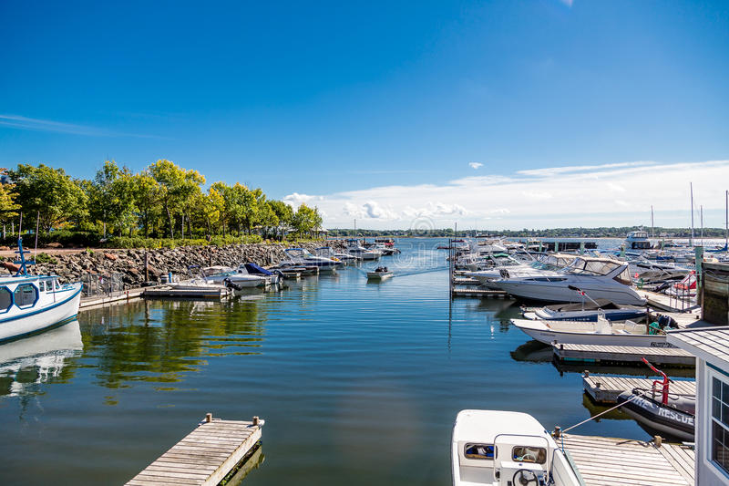 Fishing Boats in Calm Blue Marina. In Charlottetown royalty free stock images