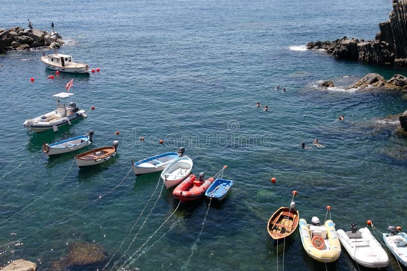 Fishing boats in Cinque Terre, Italy stock photography