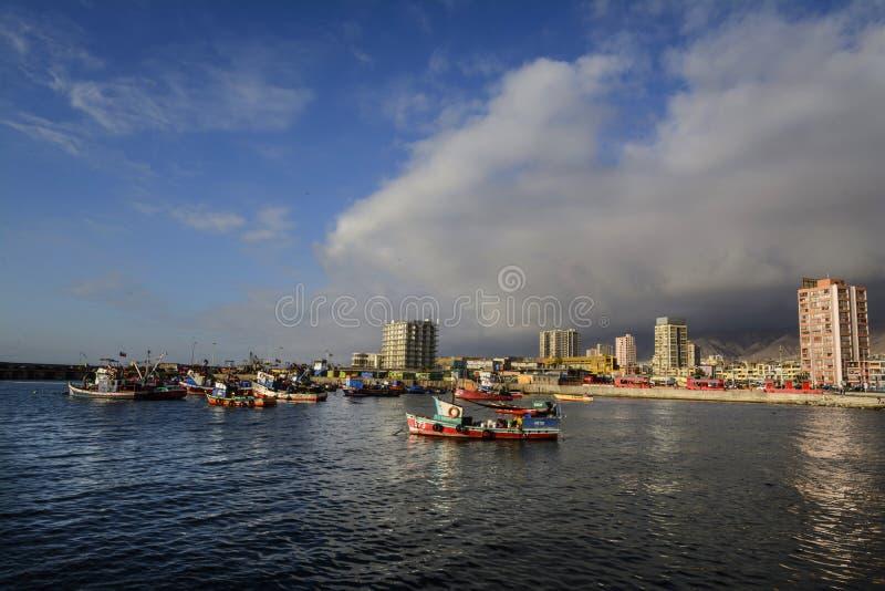 Fishing boats on the coast of Antofagasta, Chile. 11-21-2018. Antofagasta, Chile. Small fishing boats off the coast of the port of Antofagasta. Chile stock photos