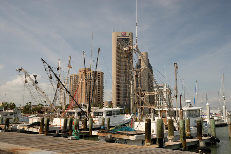 Fishing boats in Corpus Christi, TX royalty free stock images