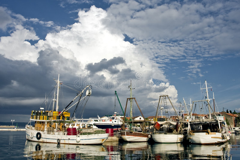 Download Fishing boats in croatia stock photo. Image of boats, blue - 5369532