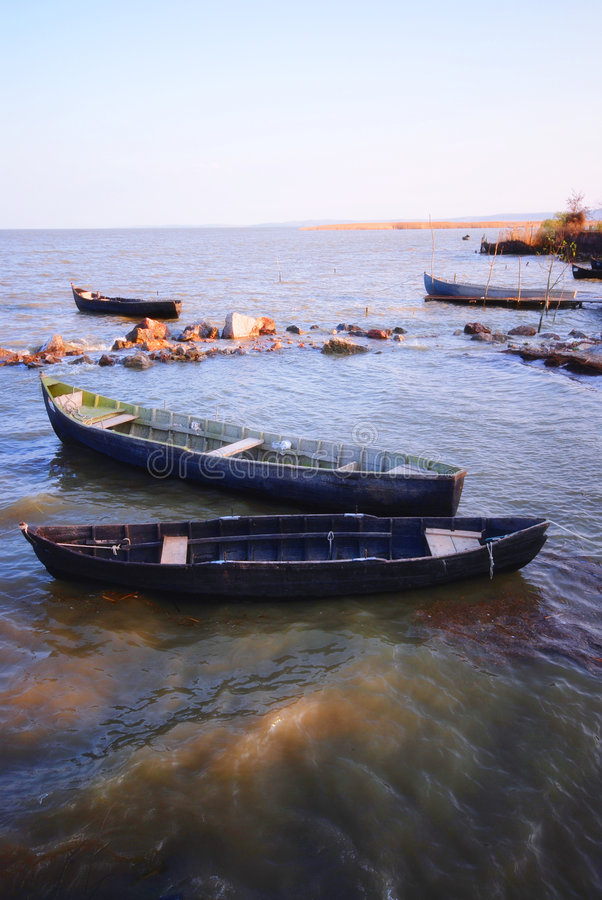 Fishing boats in Danube delta. Traditional fishing boats in Danube delta in Sarichioi, Romania royalty free stock image