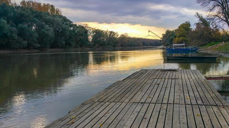 Fishing boats on the Danube royalty free stock photo