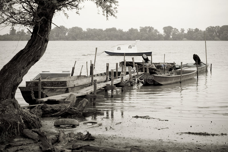 Download Fishing Boats On Danube River Stock Image - Image: 4240099