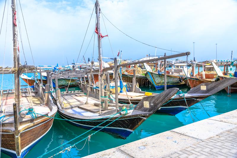 Fishing boats dhows Qatar royalty free stock images