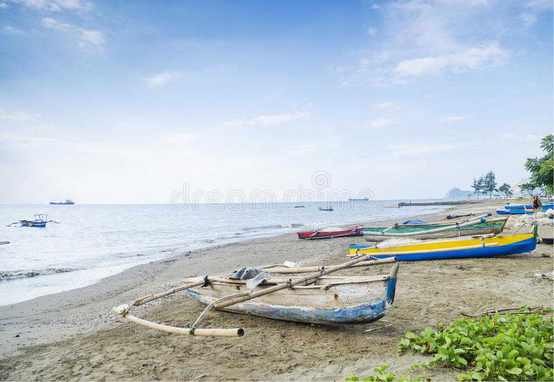 Fishing boats on dili beach east timor royalty free stock photos