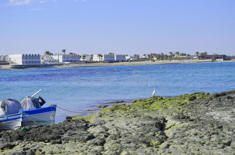Fishing boats Djerba Tunisia. View on the summer beach. Djerba island Tunisia. Fishing boats royalty free stock images