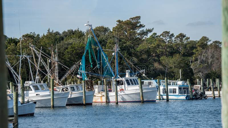 Fishing boats at the dock at the North Carolina Coast stock images