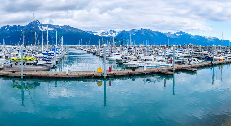 Fishing boats docked at the Whittier Harbour. Small fishing boats docked at the Whittier Harbour in Alaska, USA stock photos