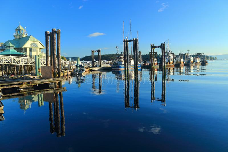 British Columbia, Canada, Fishing Boats and Docks at Nanaimo Harbour, Nanaimo, Vancouver Island stock photos