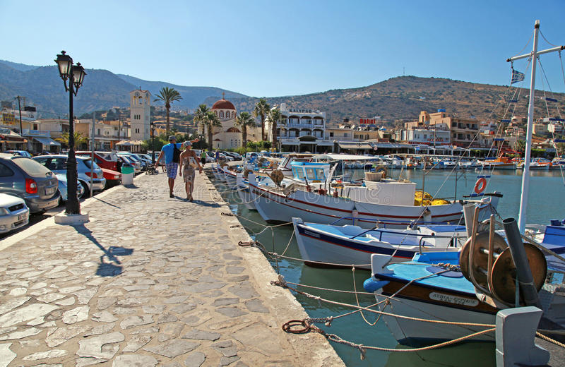 Fishing boats on embankment, Crete, Greece. stock photo