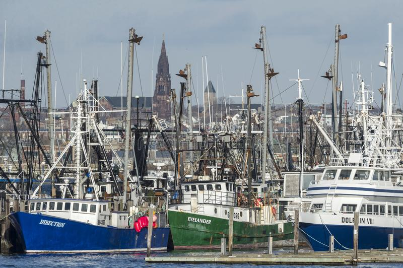 Fishing boats and ferry docked in Fairhaven stock photo
