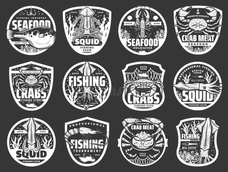 Fishing boats, fish and seafood, nets and hooks. Fish and seafood badges of fishing sport, fisherman club and tournament vector design. Fishing boats, fish catch royalty free illustration