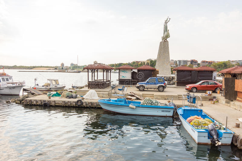 Fishing boats and gear on the dock in the old town of Nessebar in Bulgaria stock photography