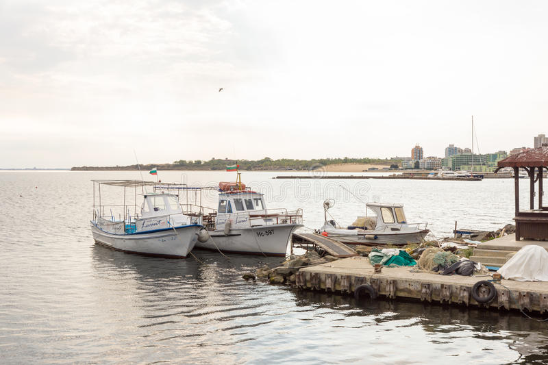 Fishing boats and gear on the dock in the old town of Nessebar, Bulgaria royalty free stock photos