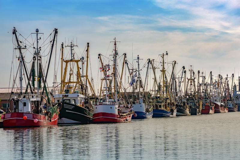 Fishing boats in the harbor of Buesum on the North Sea in Germany against the blue sky, copy space. Fishing boats in the harbor of the famous city Buesum on the royalty free stock images
