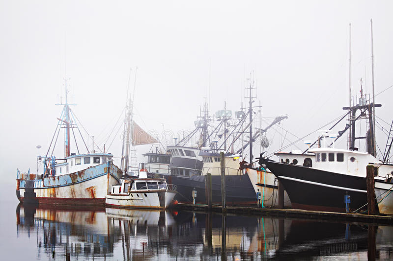 Download Fishing Boats In Harbor Fog Stock Image - Image of coast, weather: 16017727
