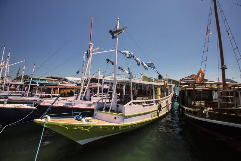 Fishing boats in the harbor, Labuan Bayo, Indonesia stock photo