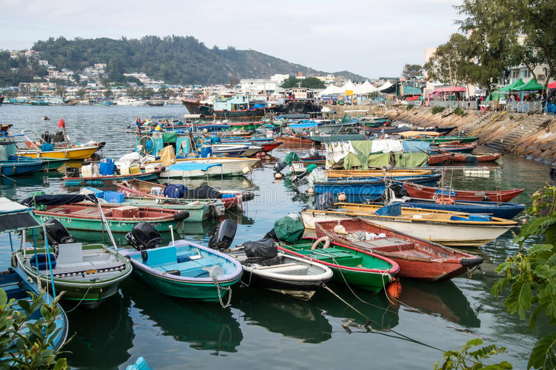 Fishing boats a harbor parked in the port royalty free stock photography