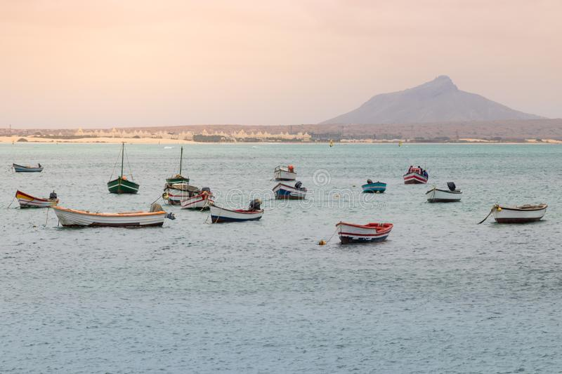 Fishing boats at the harbor of Sal Rei stock image