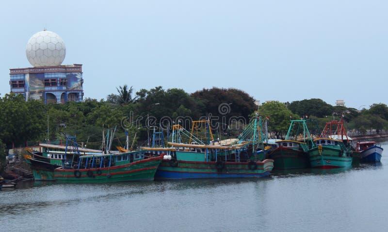 Fishing boats. Indian fishing boats on the sea shore at nagapattinam , tamilnadu, india royalty free stock images