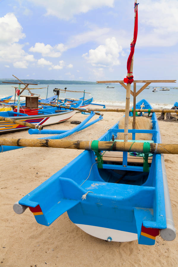 Fishing Boats, Jimbaran Beach, Bali, Indonesia. Traditional fishing boats at Jimbaran Beach, Bali, Indonesia stock images