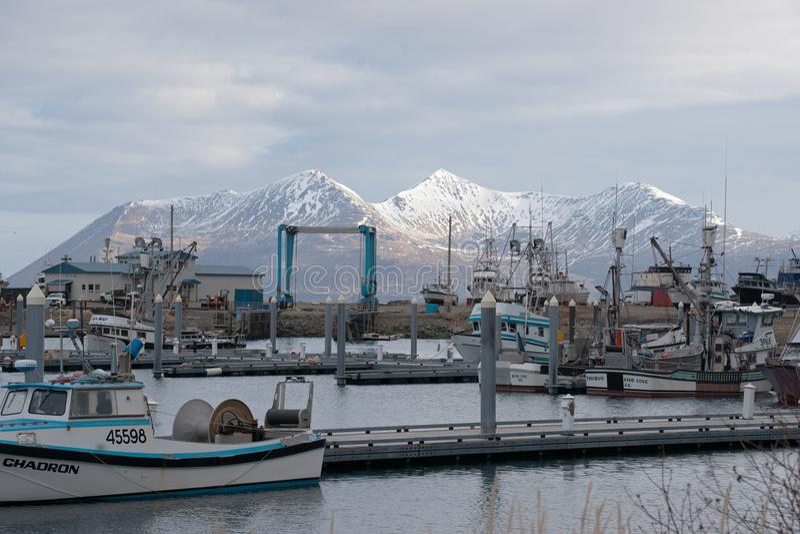 Fishing Boats King Cove Alaska stock image