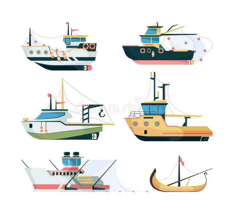 Fishing boats. Marine sailing transport for fishing big and small ships vector flat style royalty free illustration