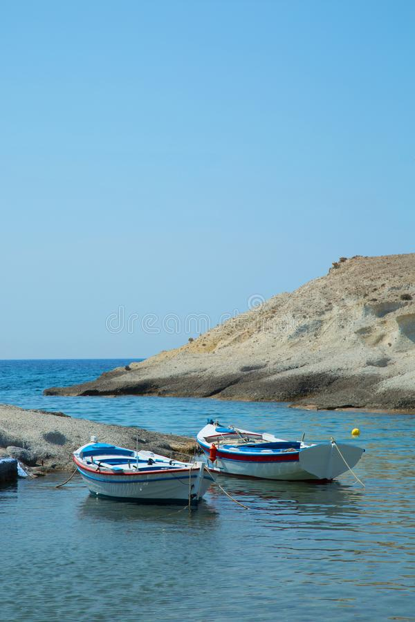 Fishing boats in Milos Island in Greece stock photos