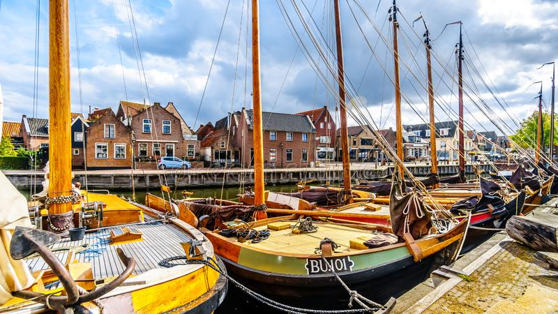 Fishing Boats moored in the harbor of Bunschoten-Spakenburg in stock image