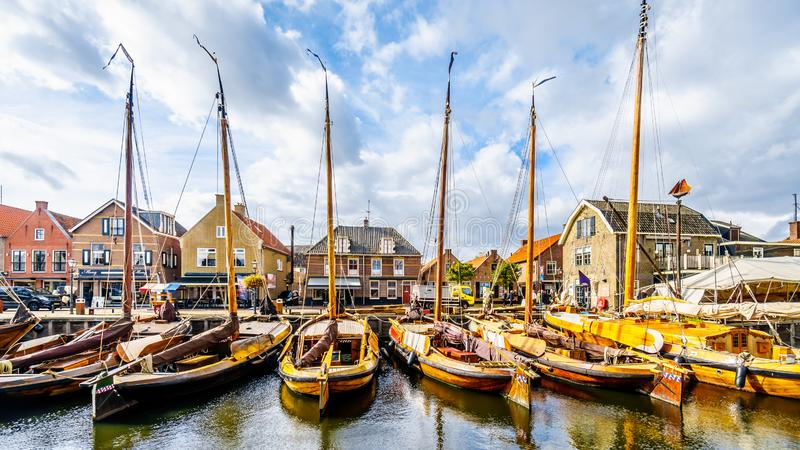 Fishing Boats moored in the harbor of Bunschoten-Spakenburg in stock images