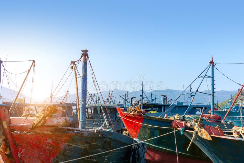 Fishing boats in the harbor royalty free stock photography