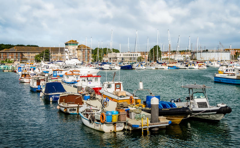 Fishing Boats Moored in the Harbour stock photography