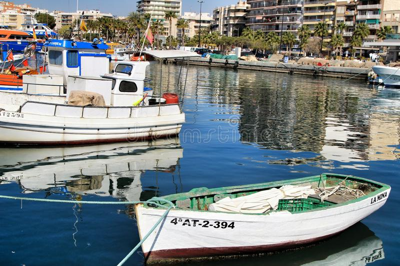 Fishing Boats moored in the port of Santa Pola, Alicante royalty free stock photos