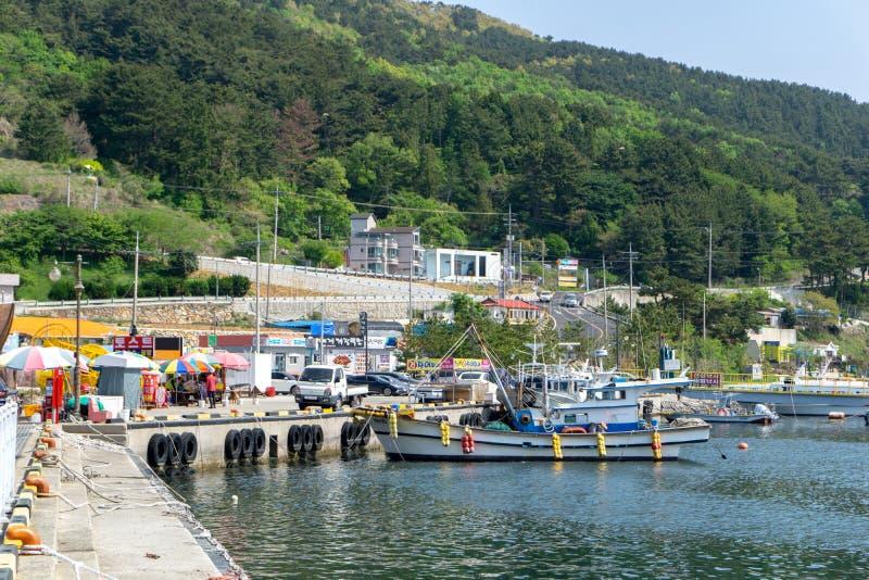 Fishing boats are mooring at Gujora pier, South Korea. stock images