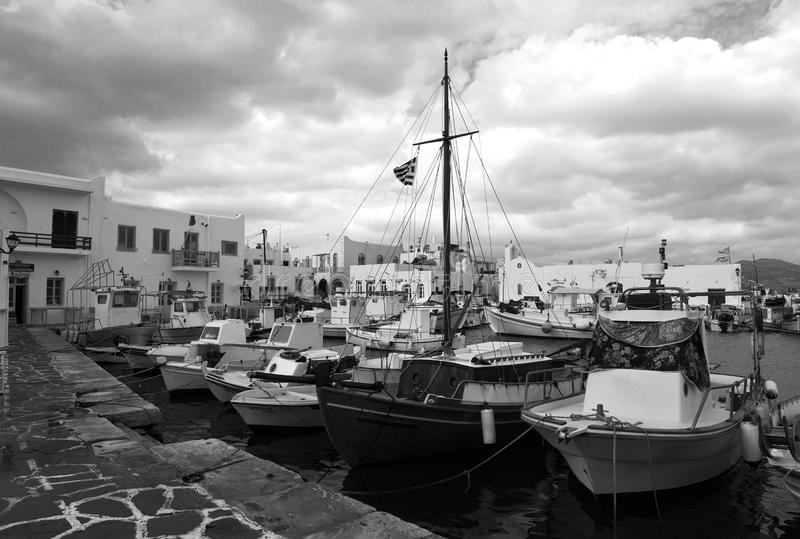 Fishing boats in Naoussa port royalty free stock photo