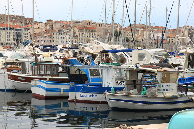 Fishing boats in old port of Marseille, France stock image