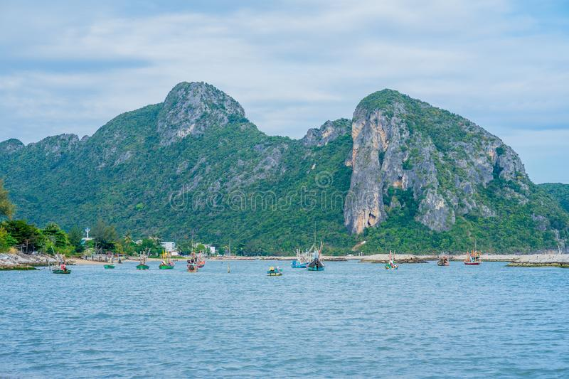 Fishing boats are parked in the Khlong Wan area. Prachuap Khiri Khan royalty free stock photography