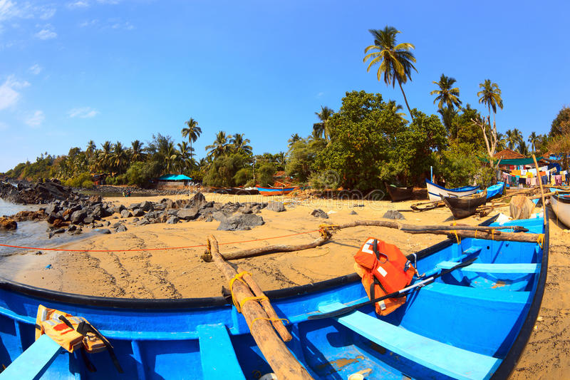 Fishing boats. Picturesque fishing boats on the outskirts of Patnem beach in Goa. India royalty free stock images