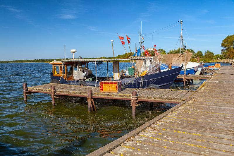 Fishing boats at the pier royalty free stock images