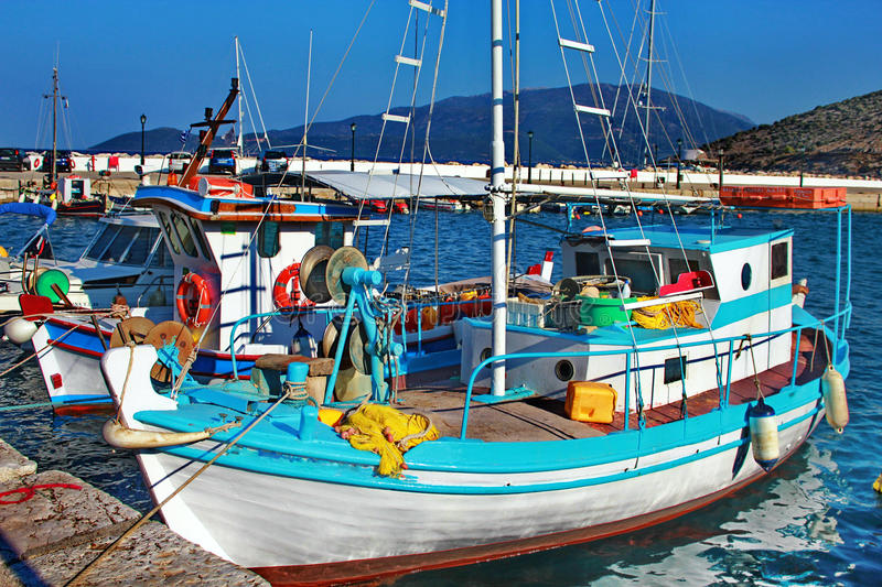 Fishing boats in port of kefalonia royalty free stock photography