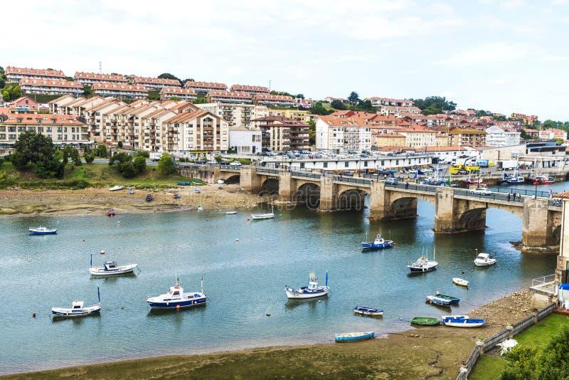 Fishing boats in San Vicente de la Barquera, Spain stock photography