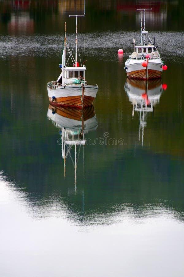 Fishing boats on sea royalty free stock photos